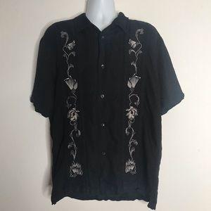 Cubavera Mens Shirt Embroidered Linen Blend